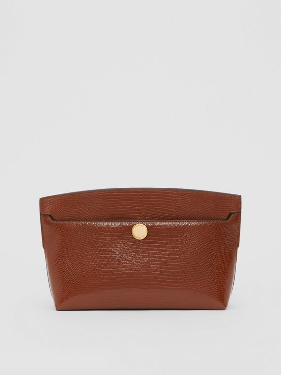 Embossed Deerskin Society Clutch in Tan