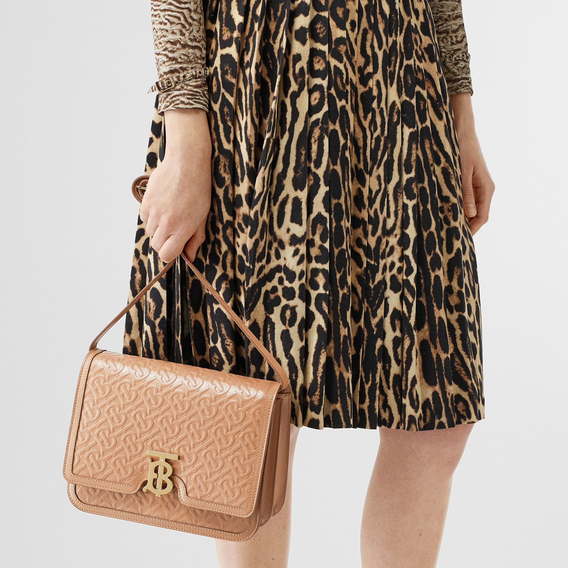 Medium Monogram Leather TB Bag in Light Camel - Women | Burberry Australia - gallery image 2