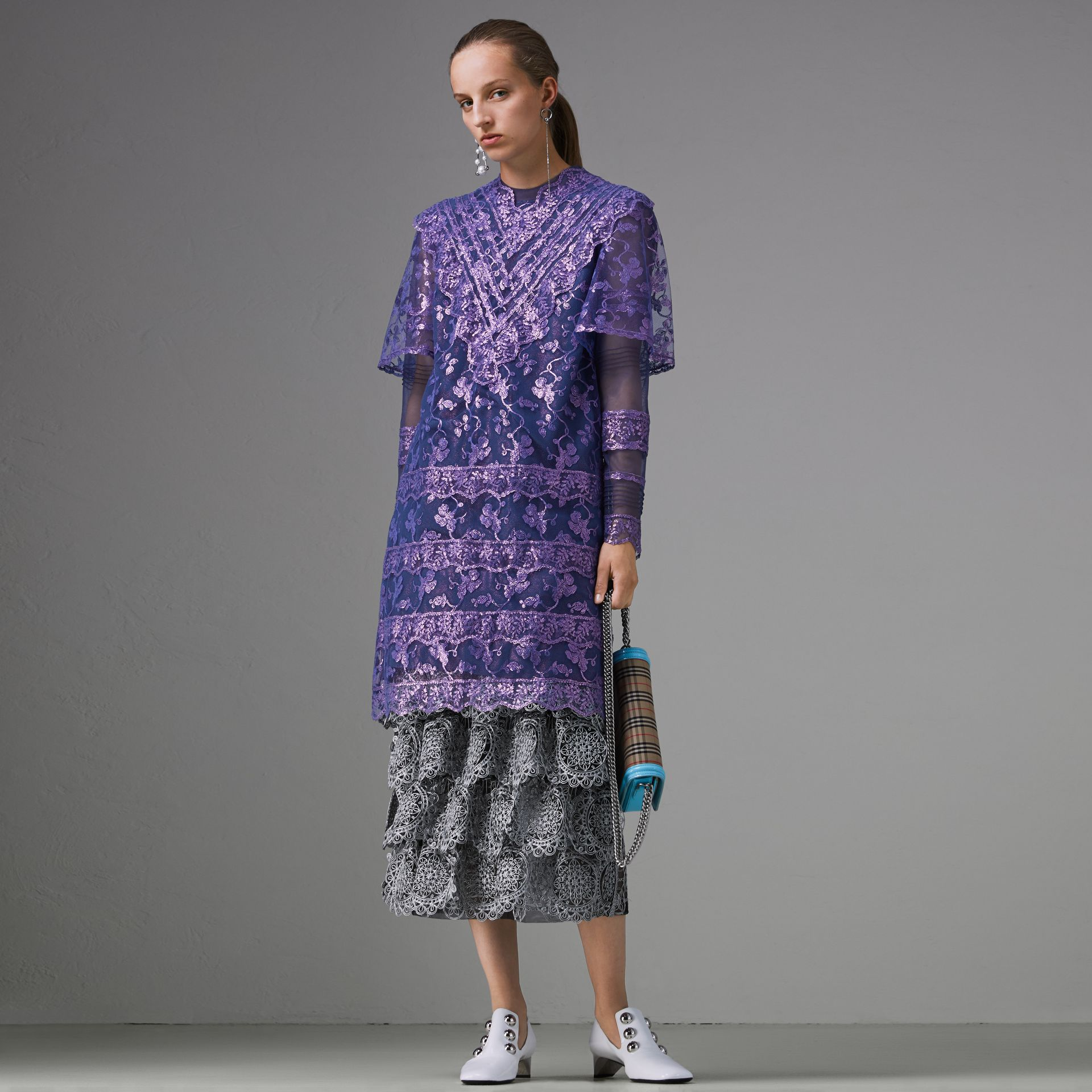 Laminated Lace Cape Sleeve Dress in Bright Purple - Women | Burberry Canada - gallery image 0