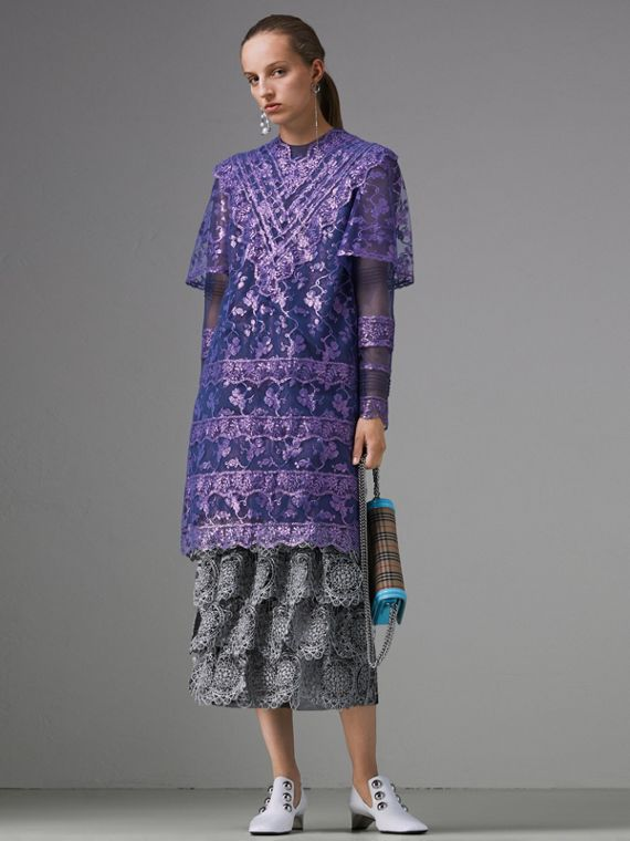 Laminated Lace Cape Sleeve Dress in Bright Purple