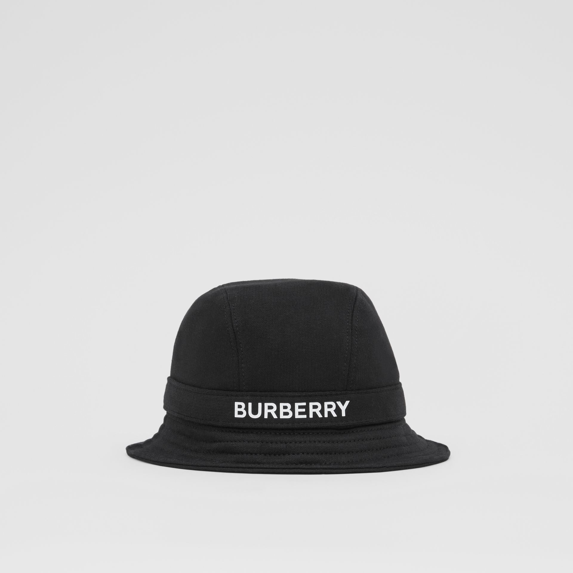 Logo Print Cotton Jersey Bucket Hat in Black | Burberry United Kingdom - gallery image 0