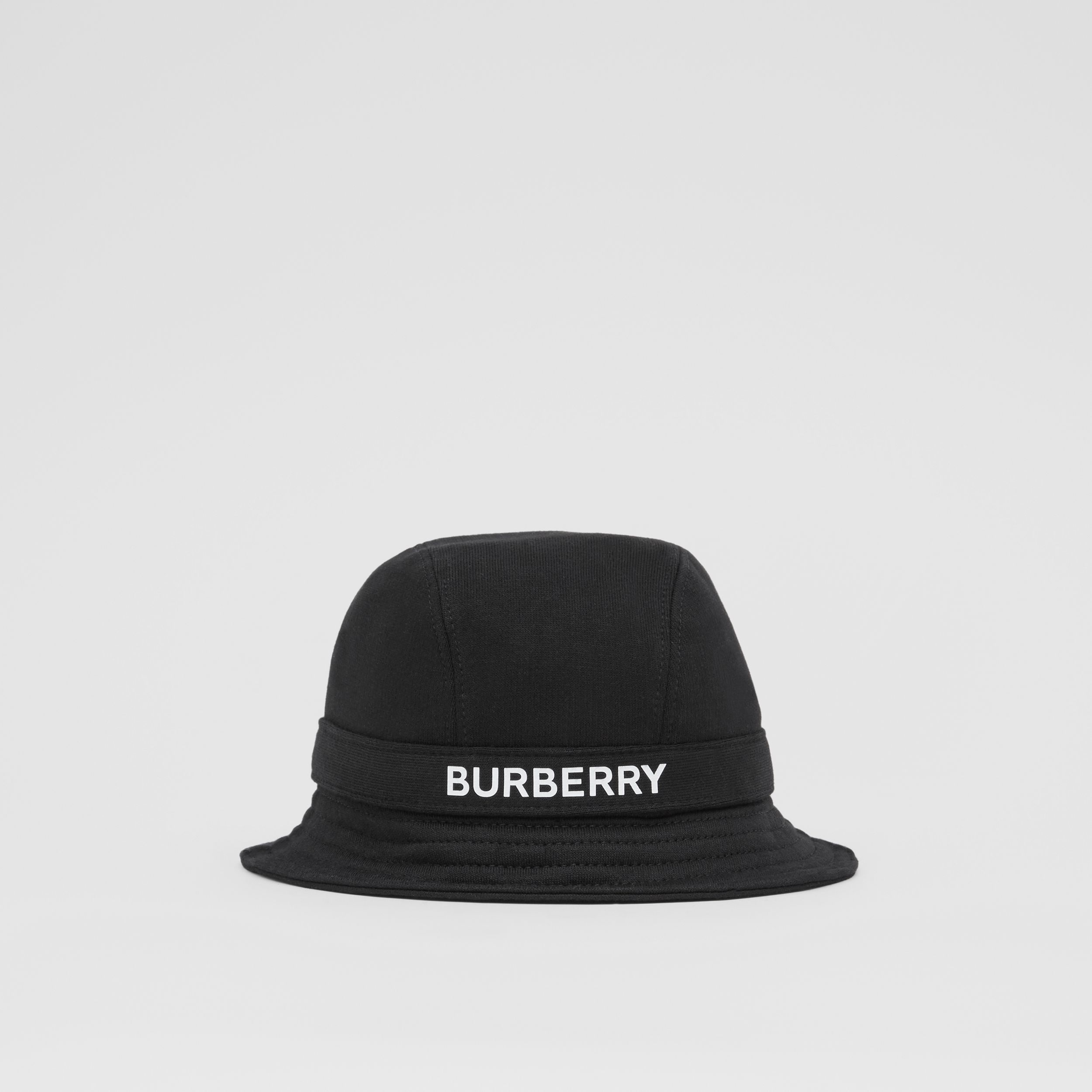 Logo Print Cotton Jersey Bucket Hat in Black | Burberry - 1
