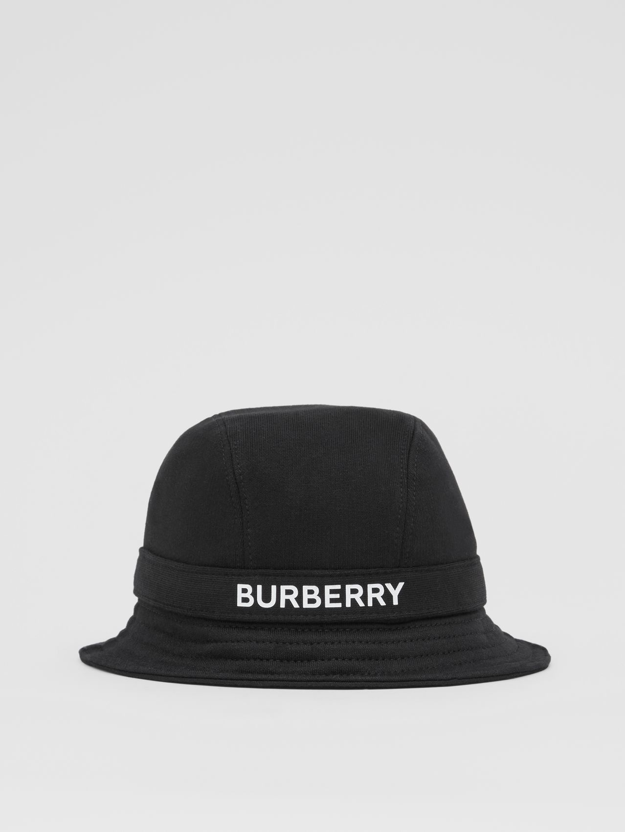 Logo Print Cotton Jersey Bucket Hat in Black