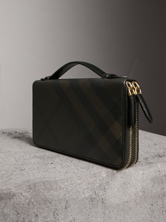London Check Travel Wallet in Chocolate/black - Men | Burberry - cell image 2