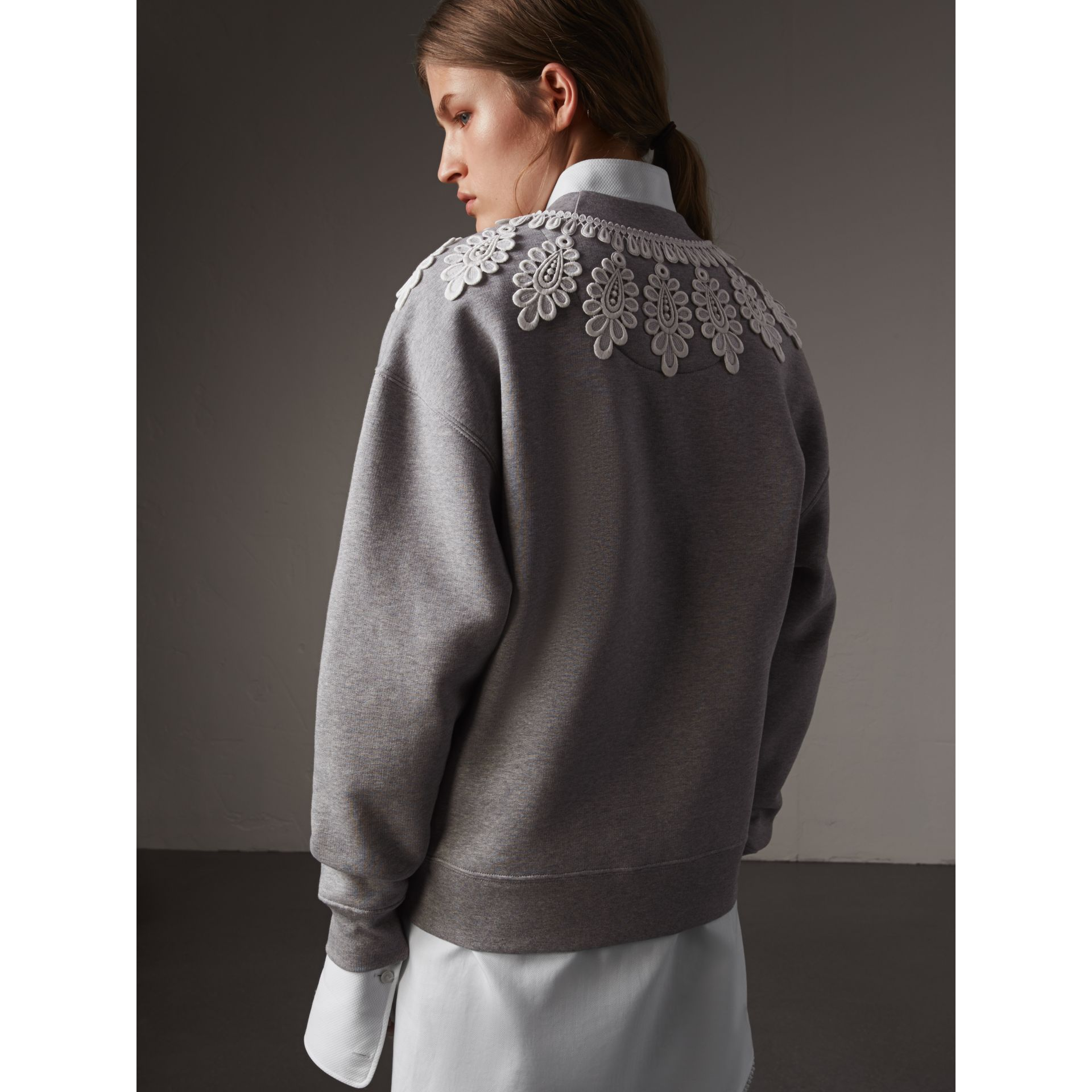 Lace Appliqué Jersey Sweatshirt in Grey Melange - Women | Burberry - gallery image 3