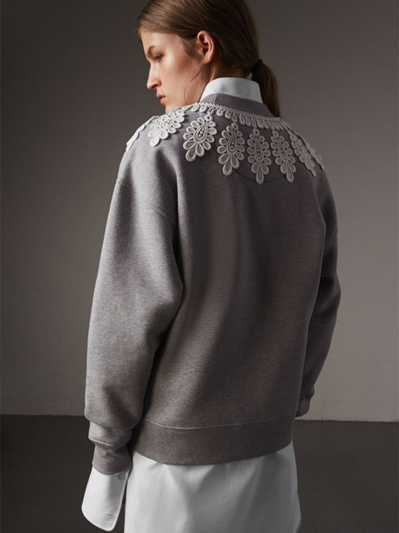 Lace Appliqué Jersey Sweatshirt in Grey Melange - Women | Burberry - cell image 2