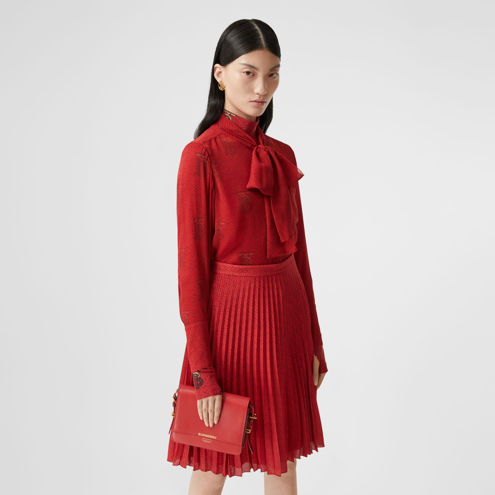 Monogram Print Silk Chiffon Pussy-bow Blouse in Bright Red - Women | Burberry United Kingdom - gallery image 5