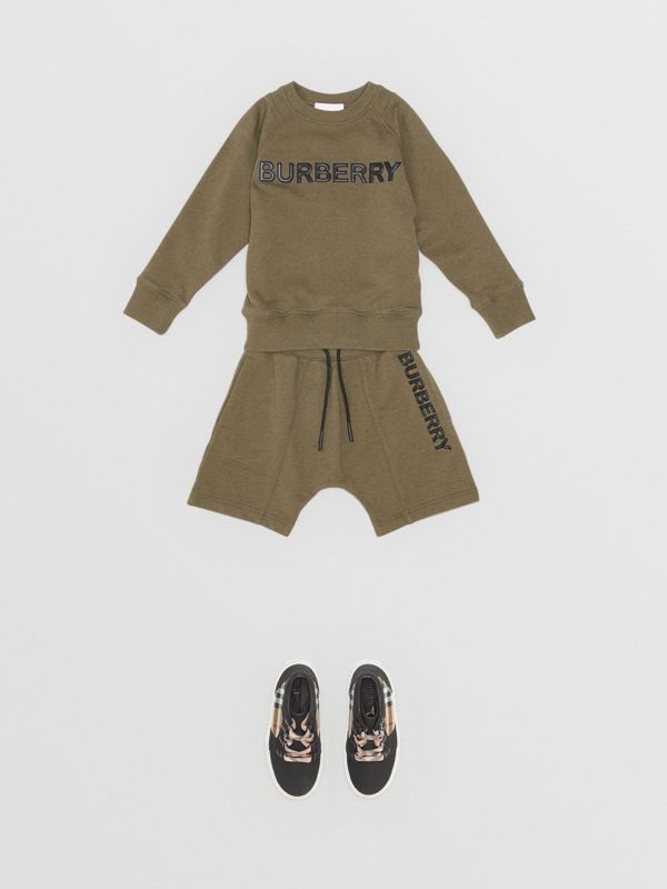 Logo Detail Cotton Sweatshirt in Military Olive | Burberry Australia - cell image 2