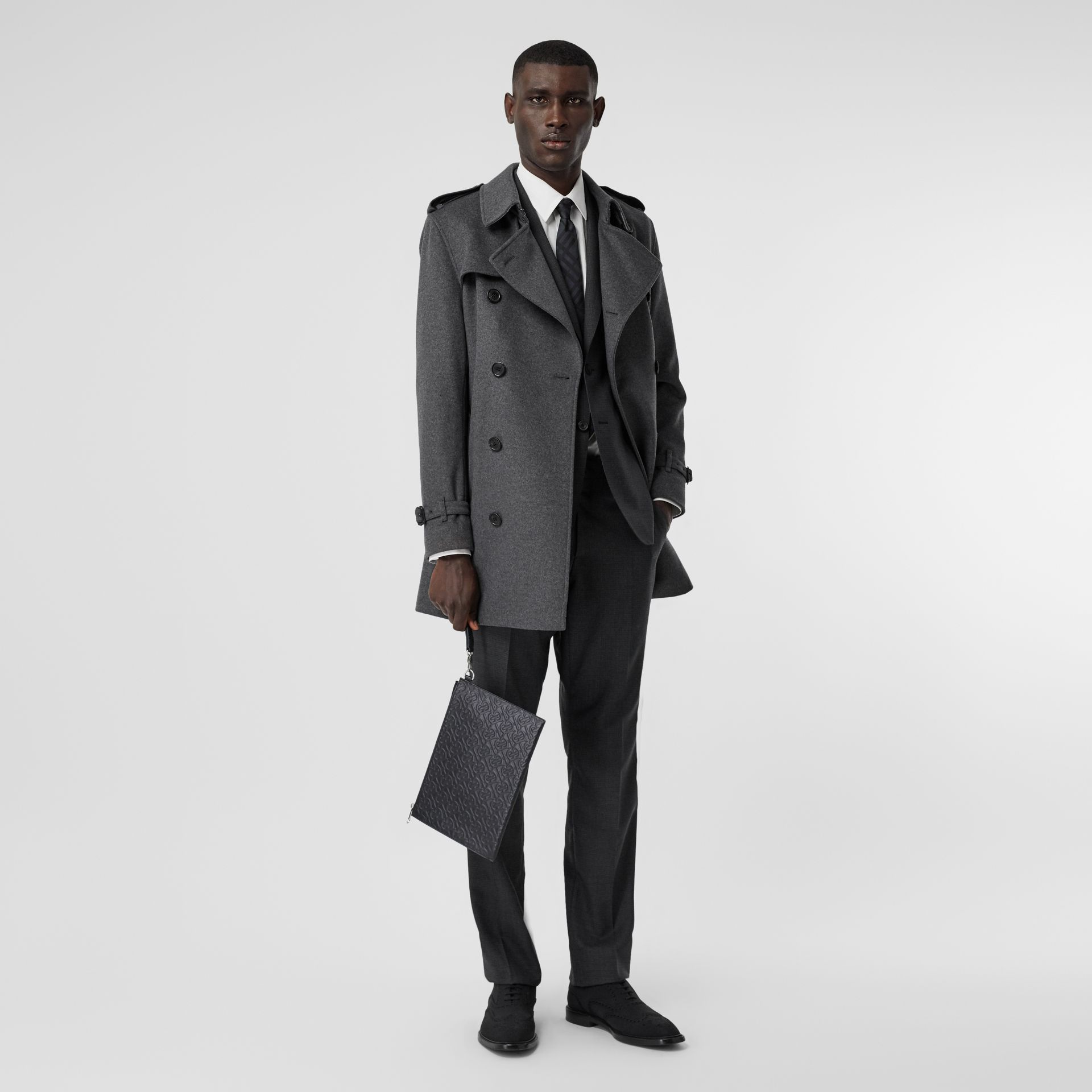 Wool Cashmere Trench Coat in Charcoal - Men | Burberry - gallery image 0