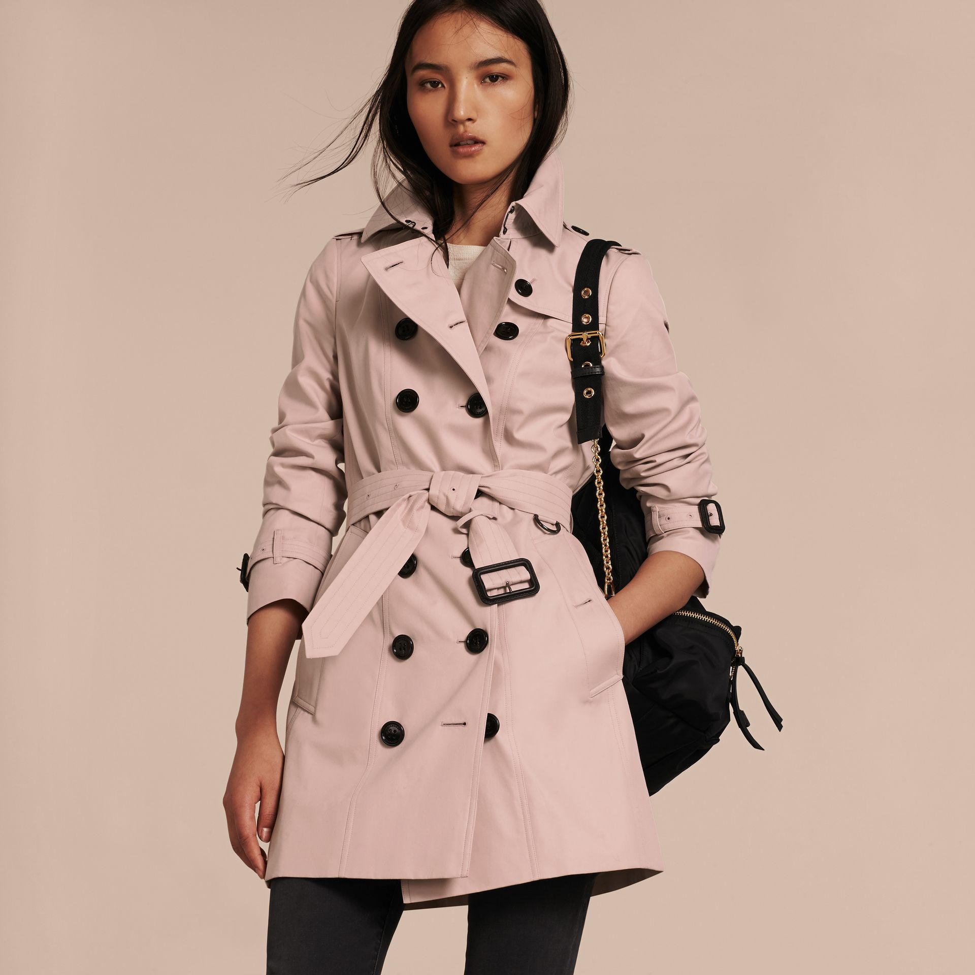 Ice pink Cotton Gabardine Trench Coat - gallery image 6