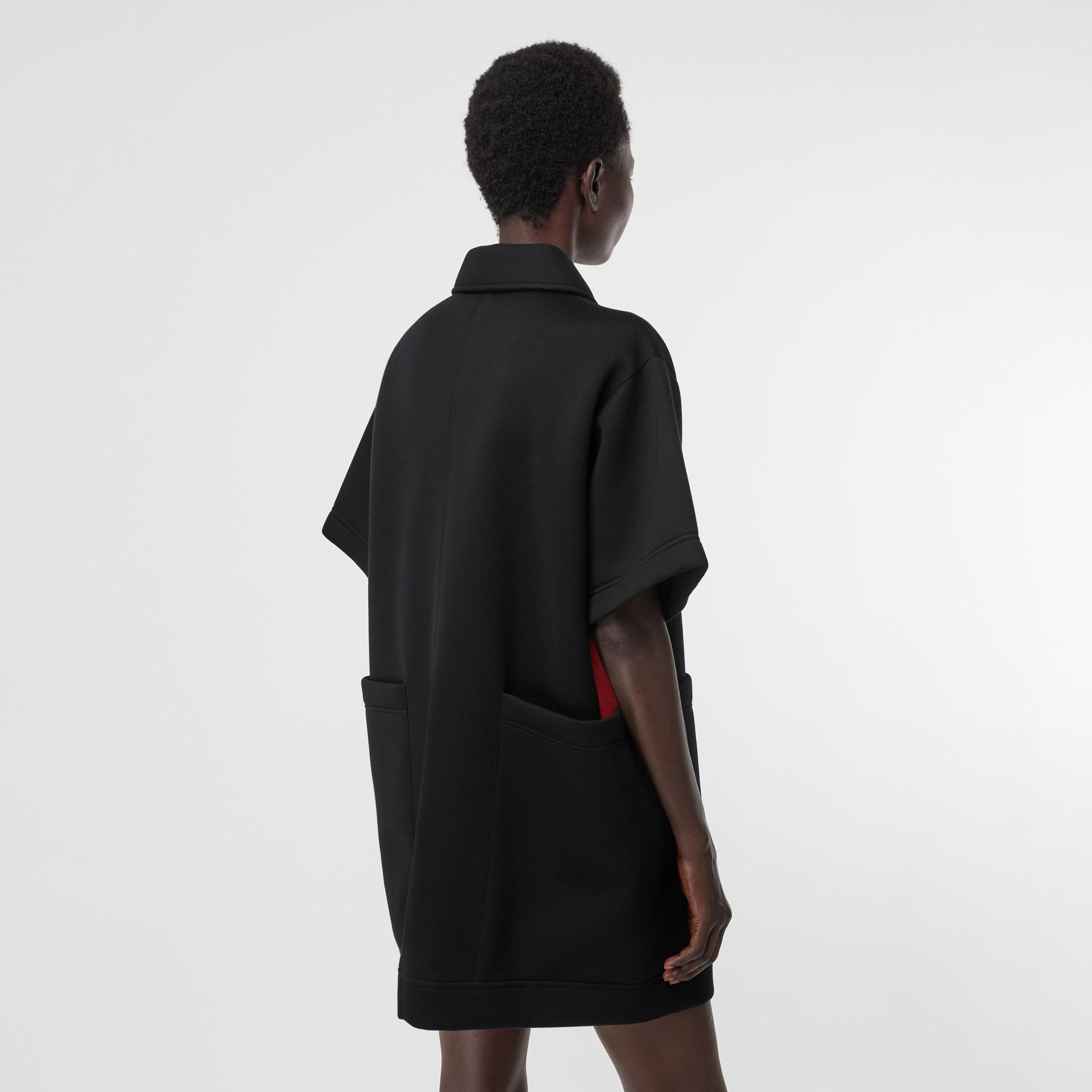 Two-tone Neoprene Mini Dress in Black - Women | Burberry United Kingdom - gallery image 2