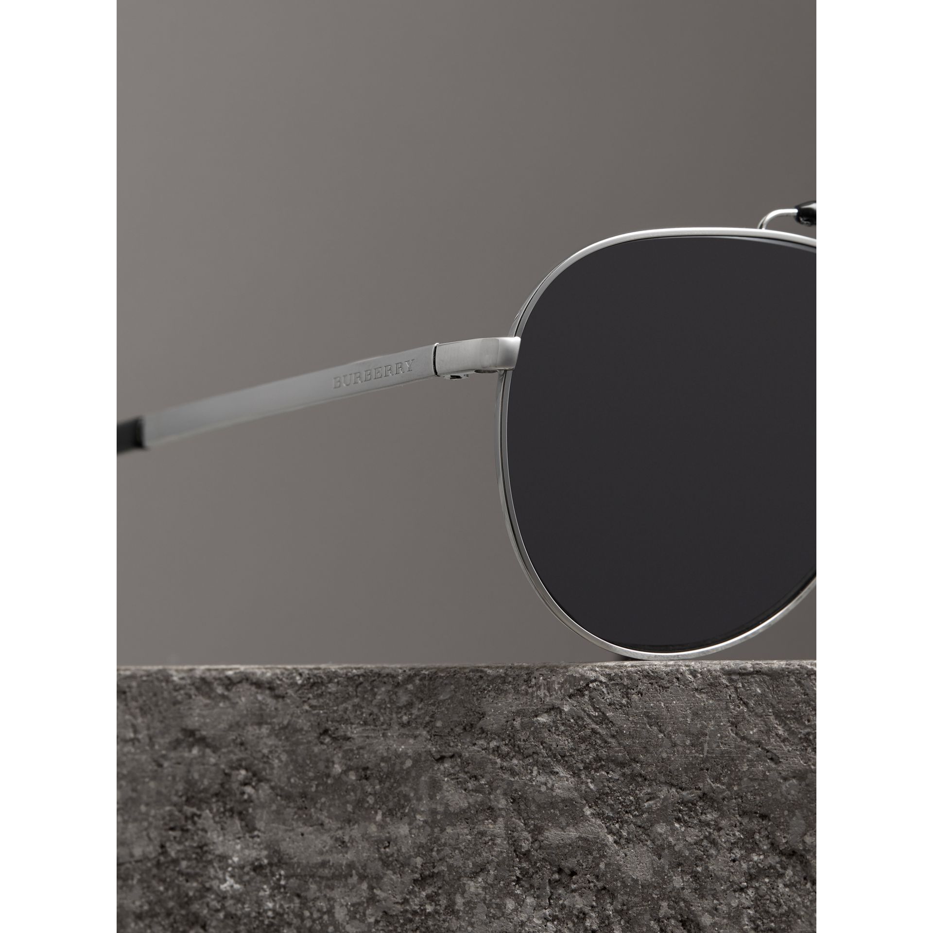 Top Bar Detail Pilot Sunglasses in Black - Men | Burberry Australia - gallery image 1