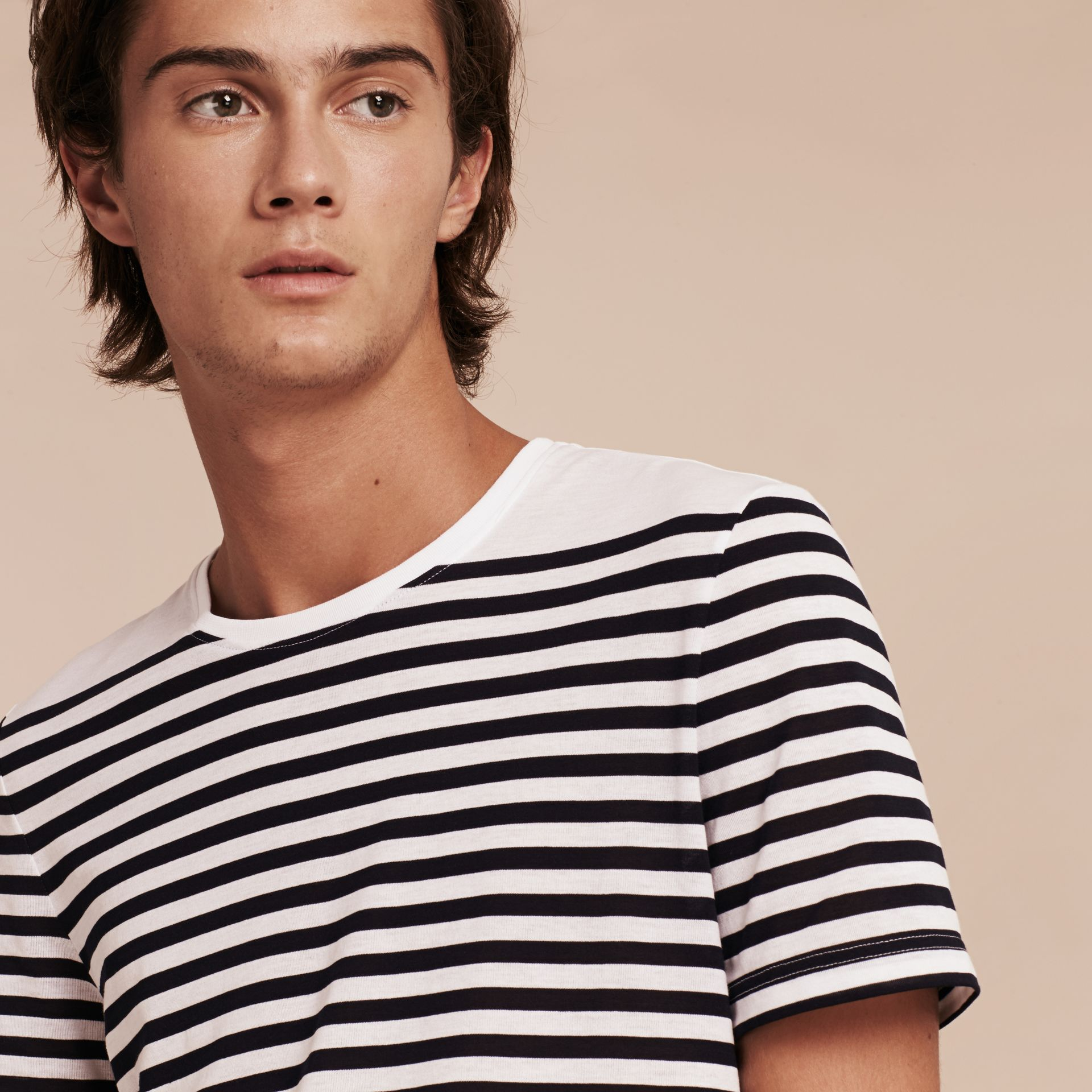 Bright navy Striped Cotton T-shirt Bright Navy - gallery image 6