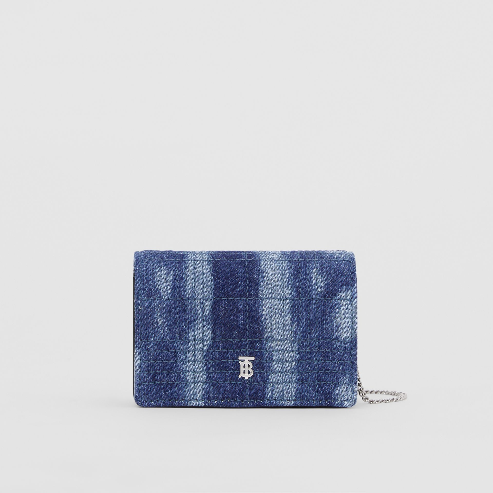 Quilted Denim Card Case with Detachable Strap in Blue | Burberry United Kingdom - gallery image 0