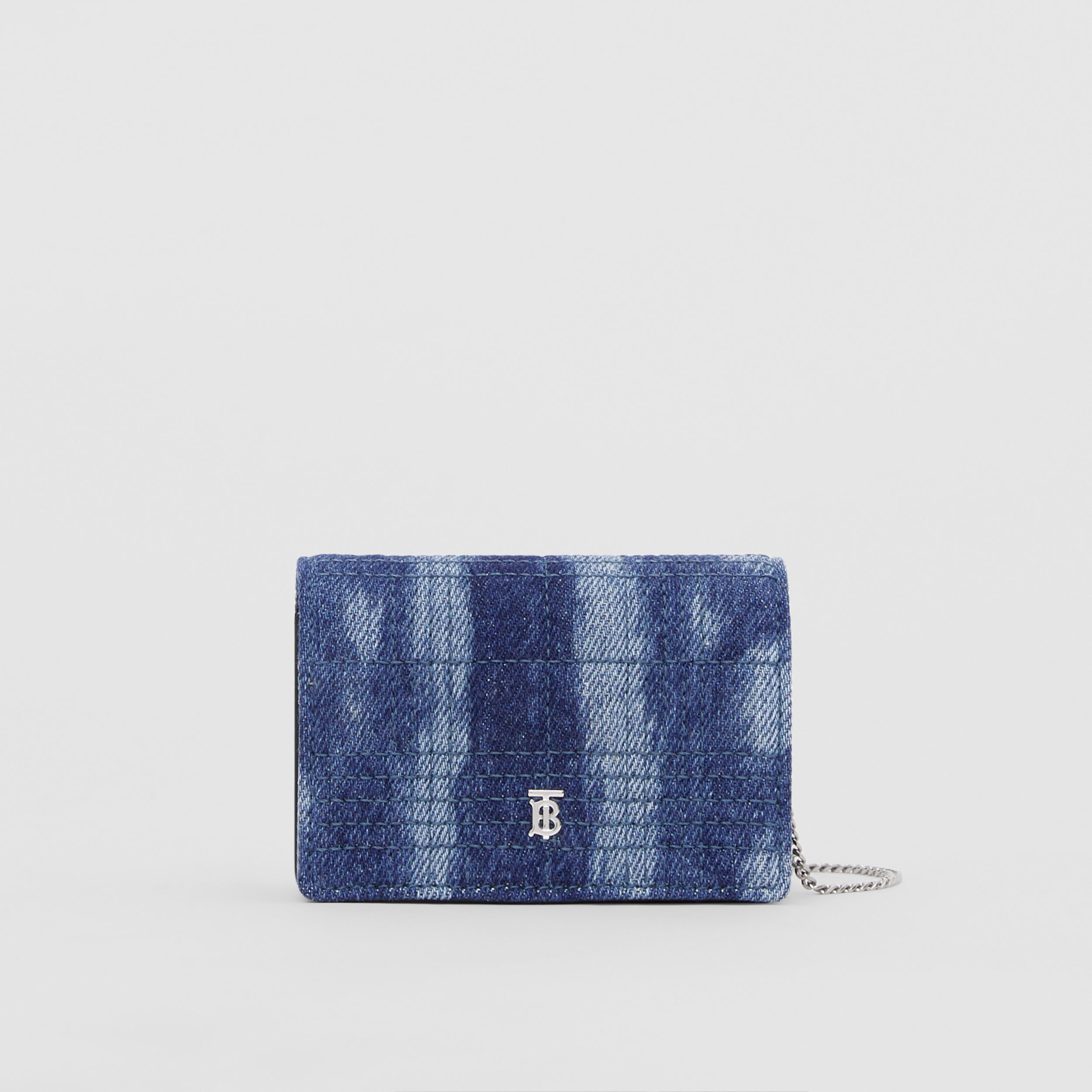 Quilted Denim Card Case with Detachable Strap in Blue | Burberry - 1