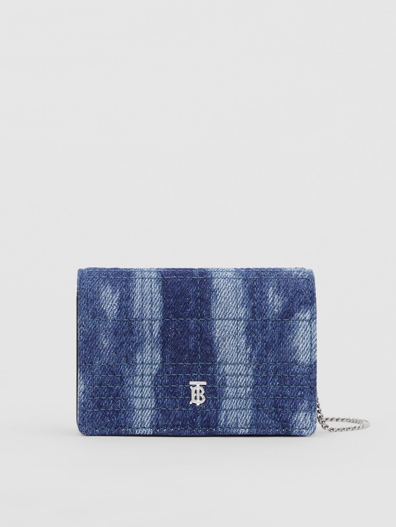 Quilted Denim Card Case with Detachable Strap in Blue