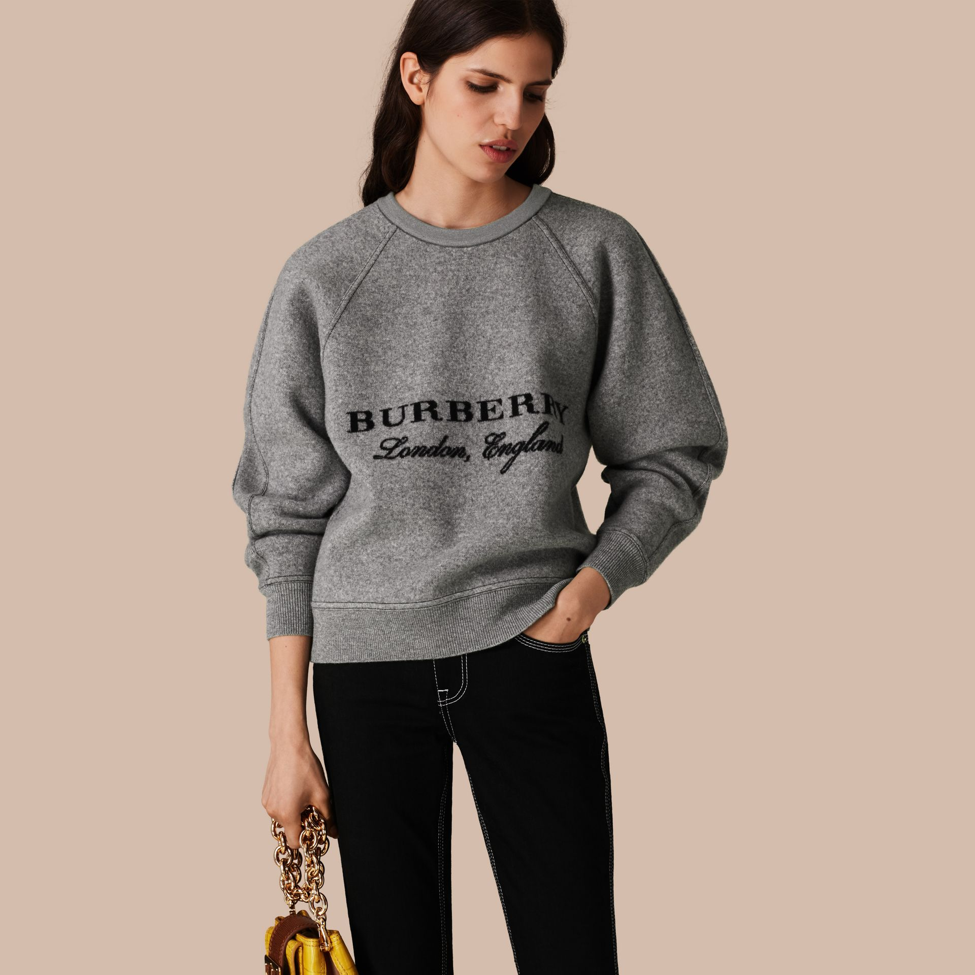 Grigio medio mélange/nero Pullover strutturato in lana e cashmere Grigio Medio Mélange/nero - immagine della galleria 1