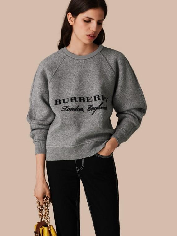 Wool Cashmere Sculpted Sweatshirt Midgrey Melange/black