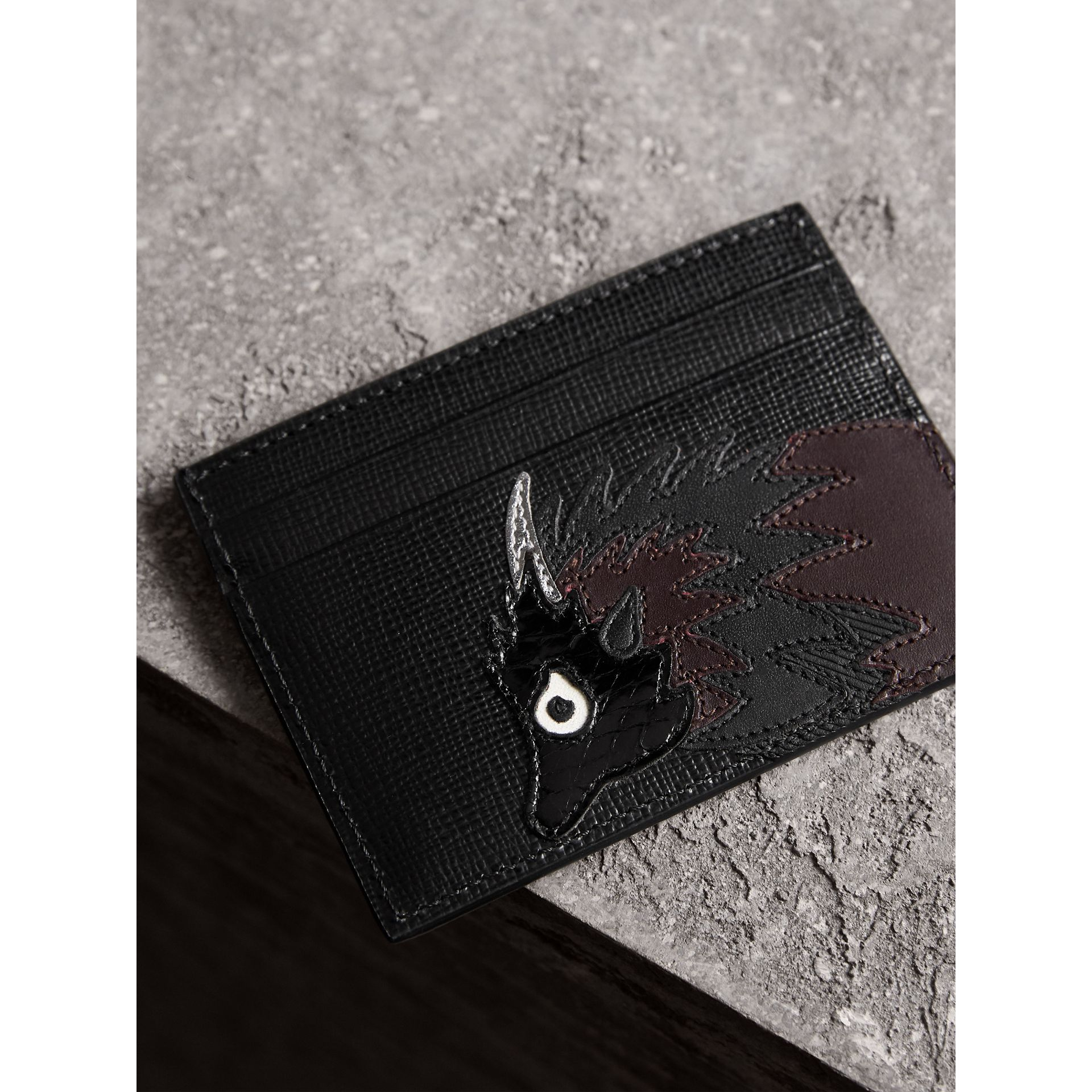 Beasts Motif Leather Card Case in Black - Men | Burberry - gallery image 1