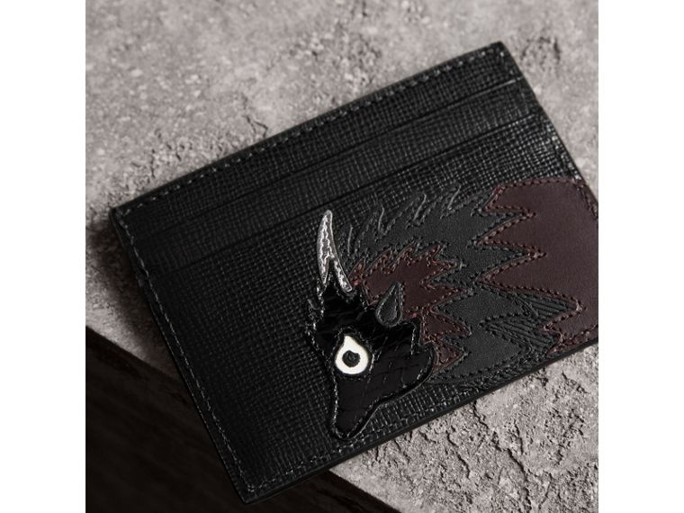 Beasts Motif Leather Card Case in Black - Men | Burberry - cell image 1