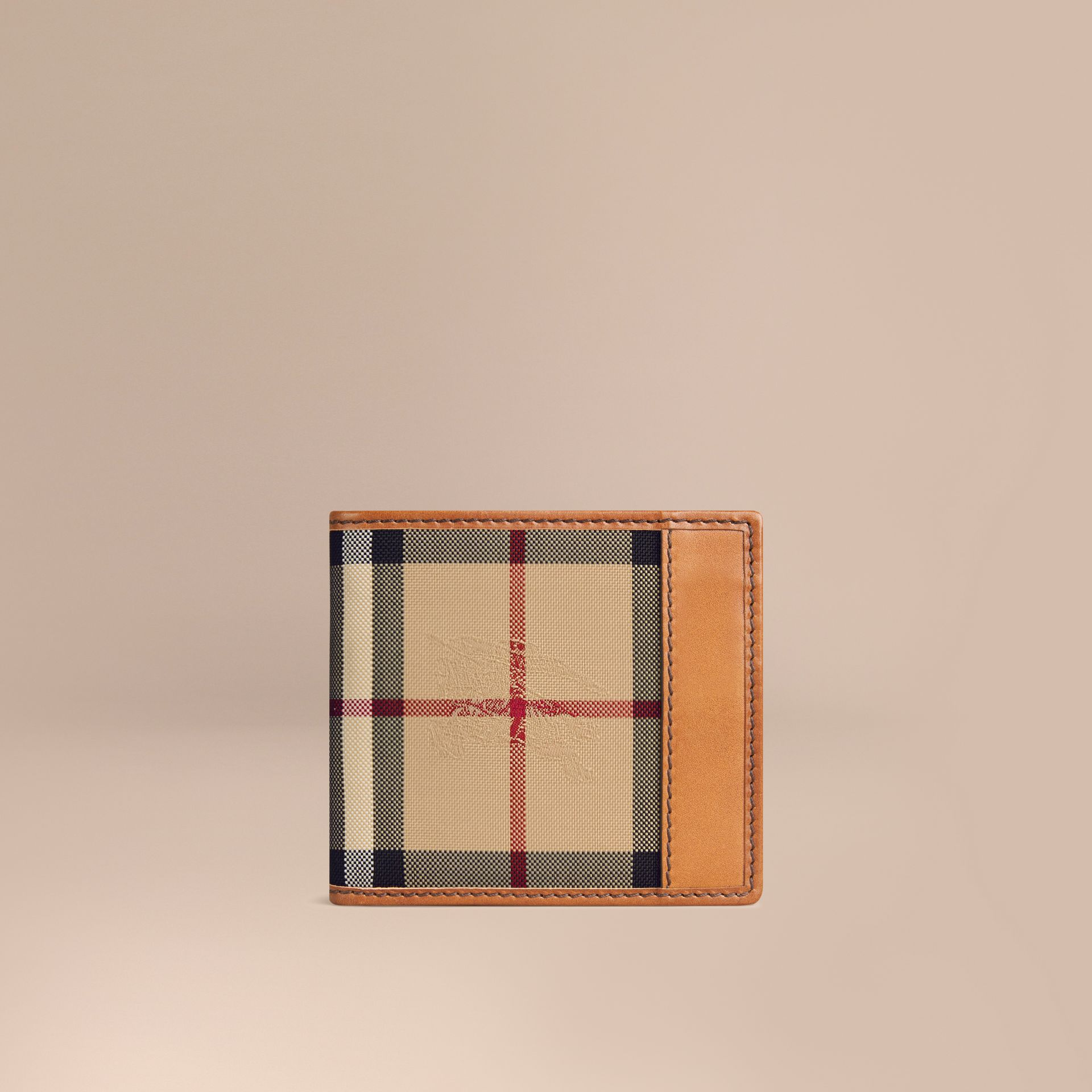 Horseferry Check International Bifold Coin Wallet in Tan - Men | Burberry Australia - gallery image 1