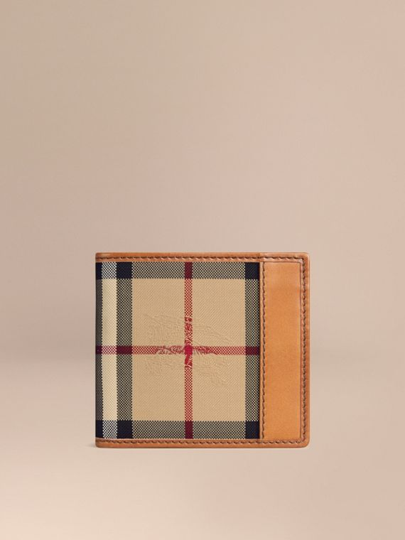 Horseferry Check International Bifold Coin Wallet in Tan - Men | Burberry