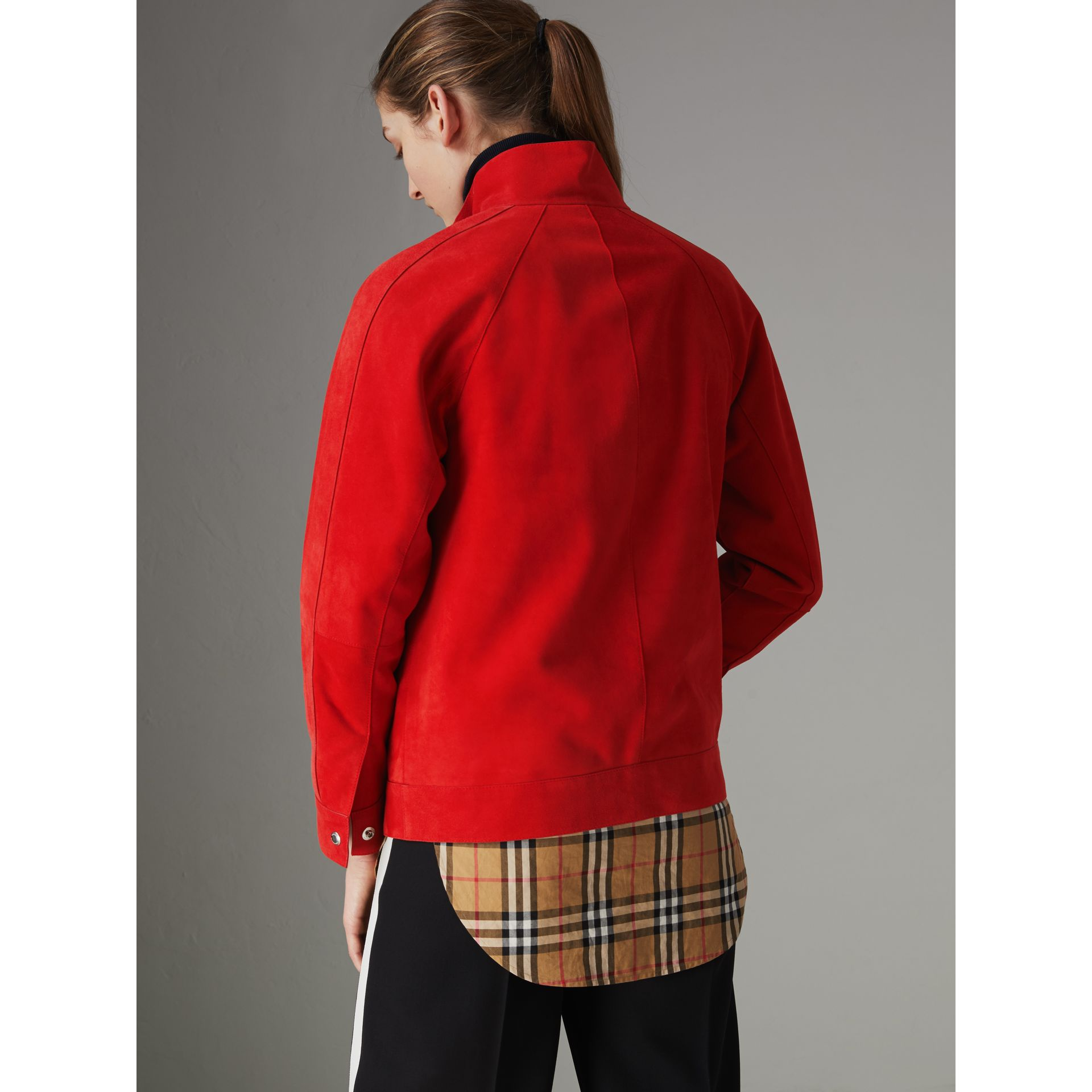 Suede Tracksuit Jacket in Bright Red - Women | Burberry United Kingdom - gallery image 2