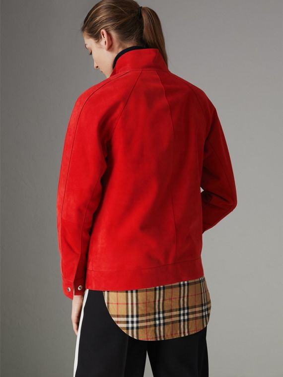 Suede Tracksuit Jacket in Bright Red - Women | Burberry - cell image 2