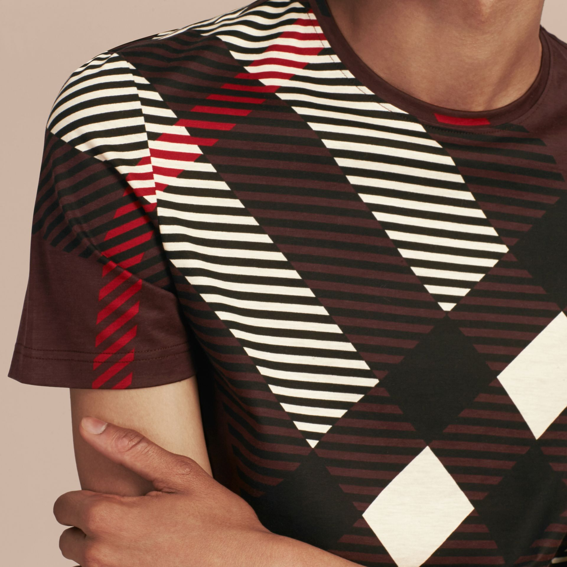 Deep claret Abstract Check Cotton T-Shirt - gallery image 5
