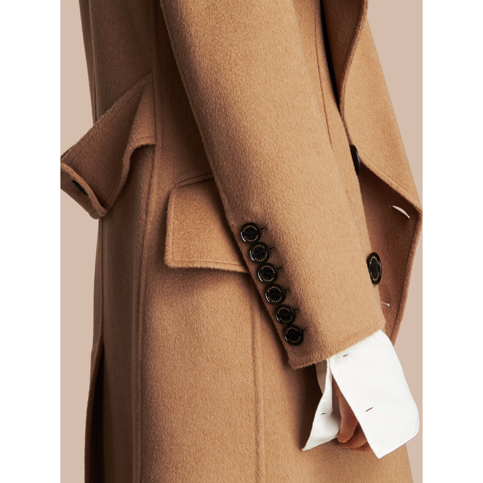 Draped Front Camel Hair and Wool Tailored Coat - Women | Burberry - gallery image 5