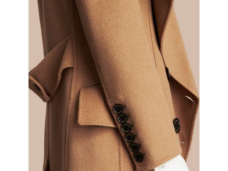 Draped Front Camel Hair and Wool Tailored Coat - Women | Burberry - cell image 4
