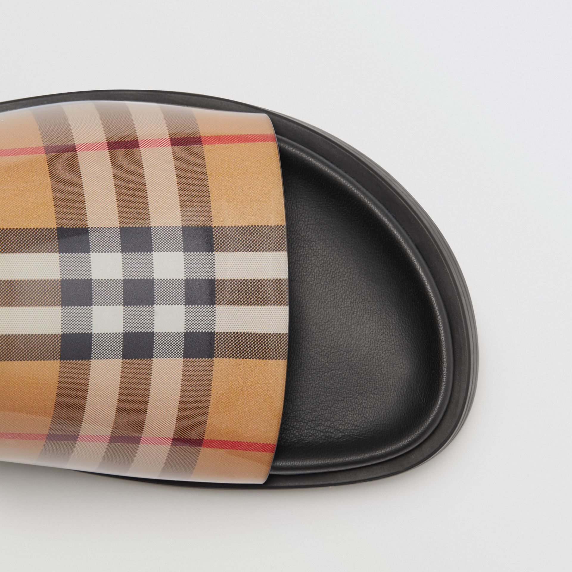 Vintage Check and Leather Slides in Antique Yellow - Women | Burberry Singapore - gallery image 1