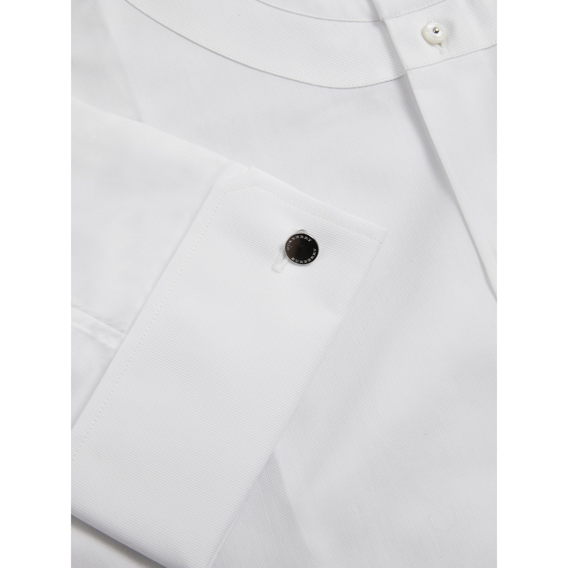 Modern Fit Panelled Bib Cotton Evening Shirt in White - Men | Burberry United Kingdom - gallery image 2