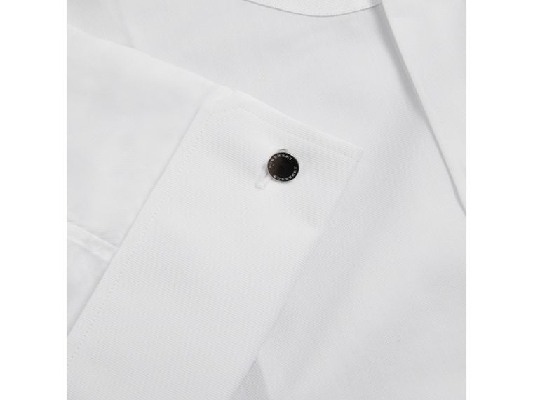 Modern Fit Panelled Bib Cotton Evening Shirt in White - Men | Burberry United Kingdom - cell image 1