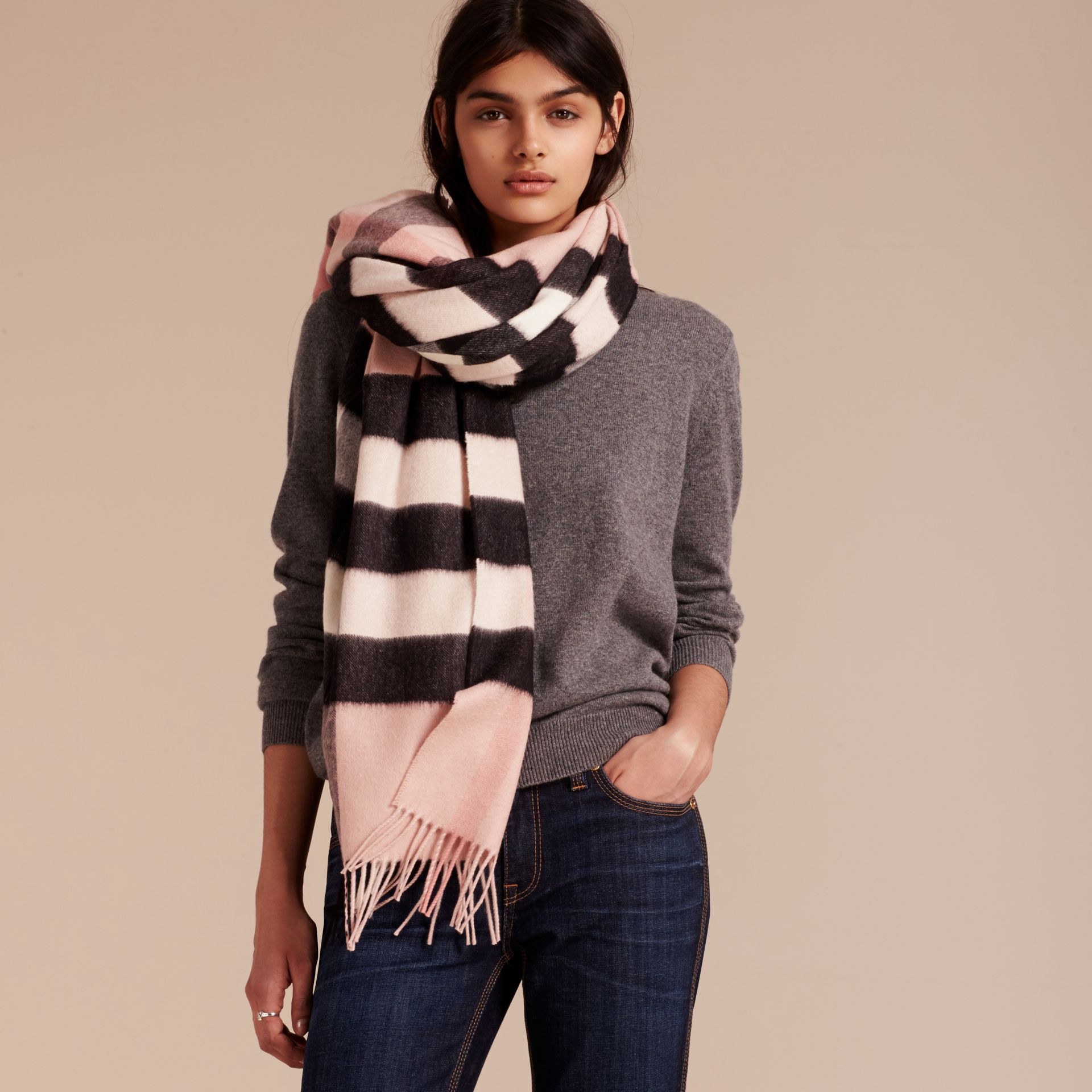 Check Cashmere and Wool Poncho in Ash Rose - Women | Burberry Australia - gallery image 3