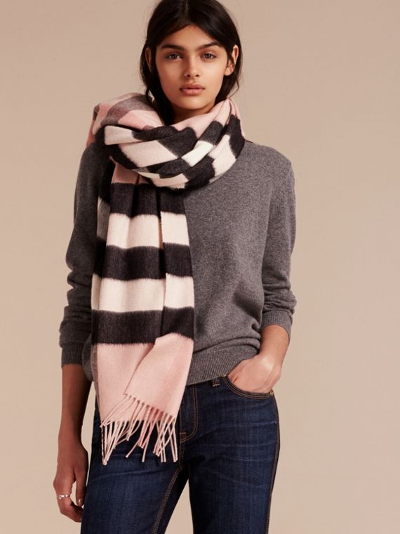 Check Cashmere and Wool Poncho in Ash Rose - Women | Burberry - cell image 2