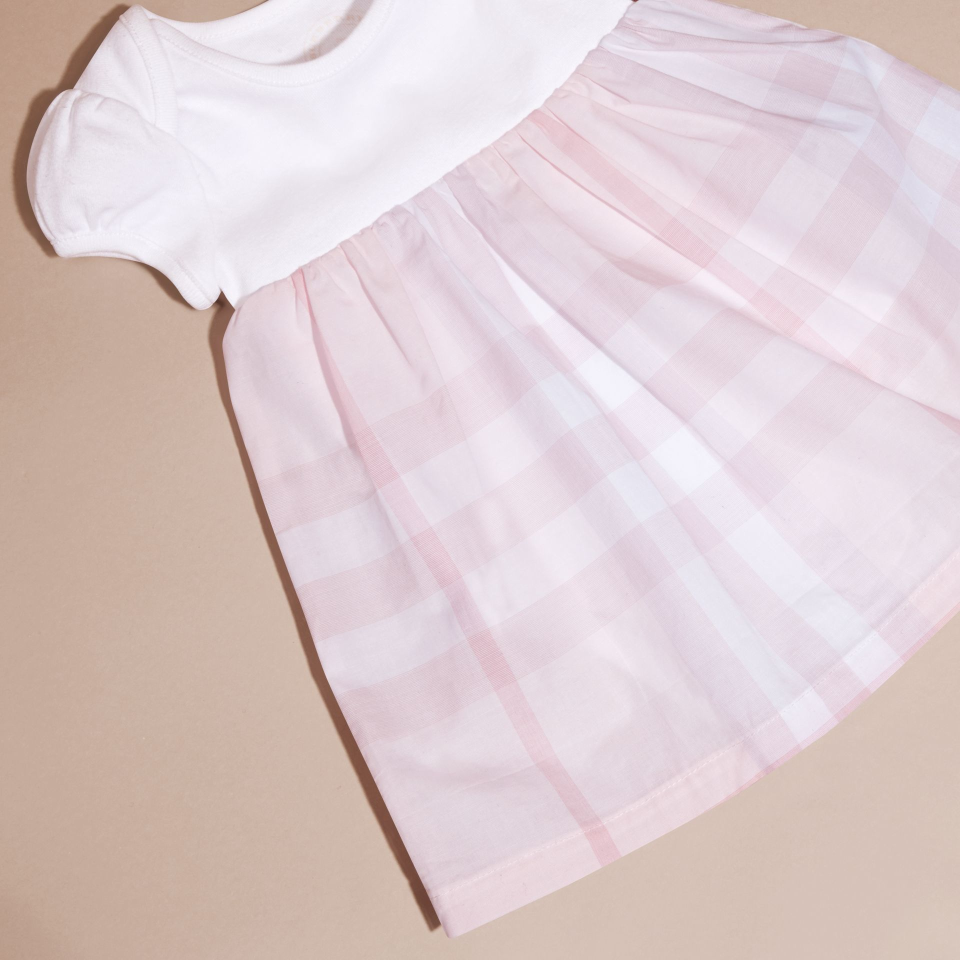 Check Detail Cotton Dress in Ice Pink | Burberry - gallery image 5
