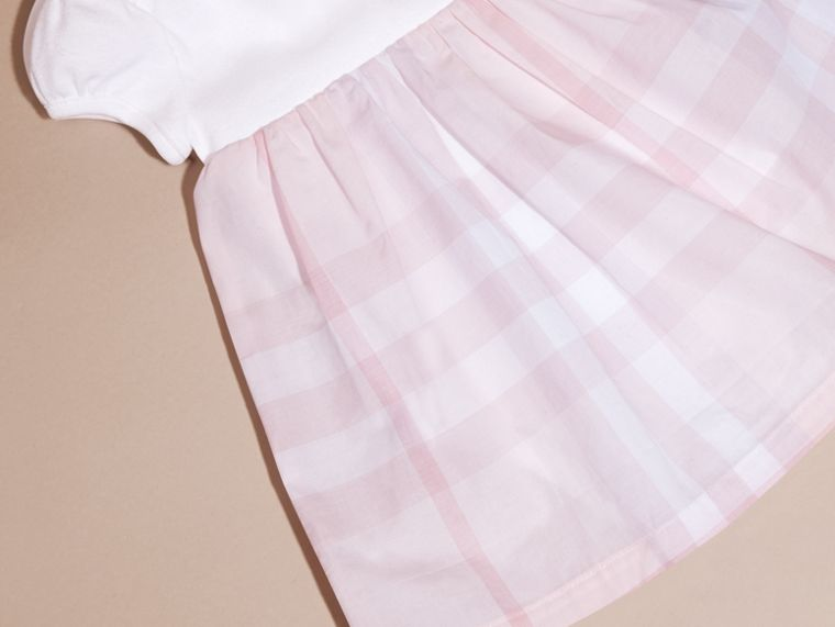 Check Detail Cotton Dress in Ice Pink | Burberry - cell image 4