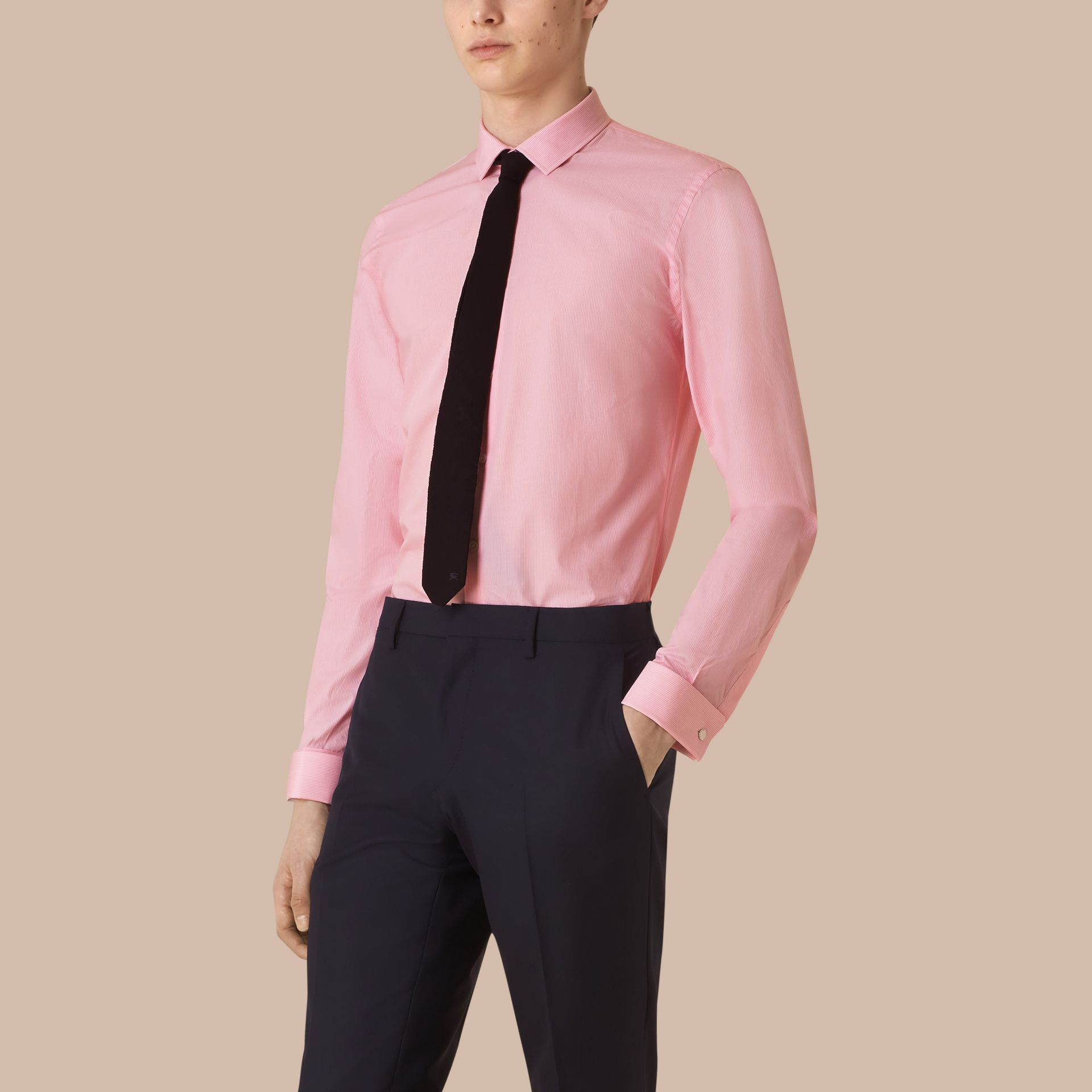 Slim Fit Double-cuff Striped Cotton Poplin Shirt in City Pink - gallery image 1