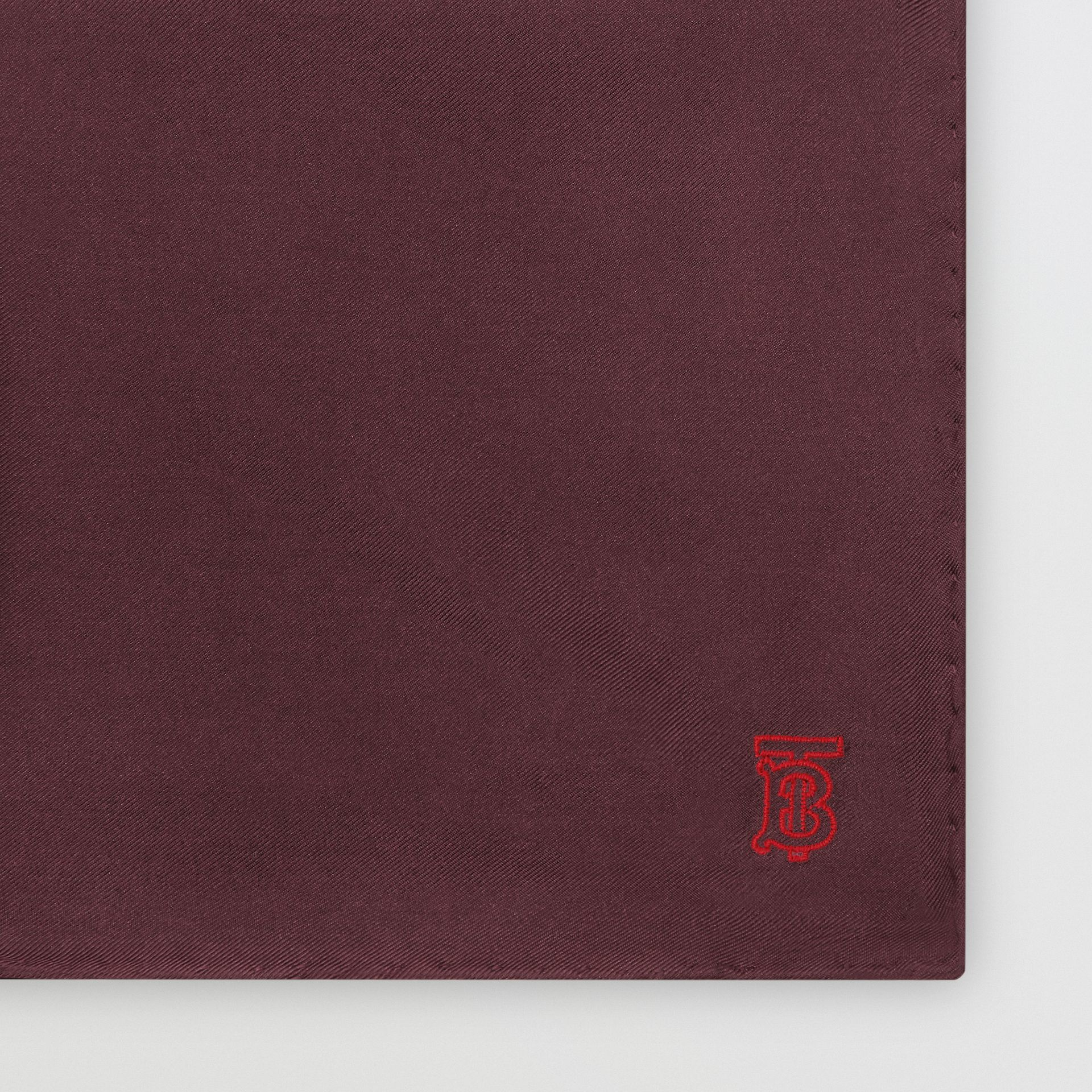 Monogram Motif Silk Pocket Square in Burgundy - Men | Burberry - gallery image 1