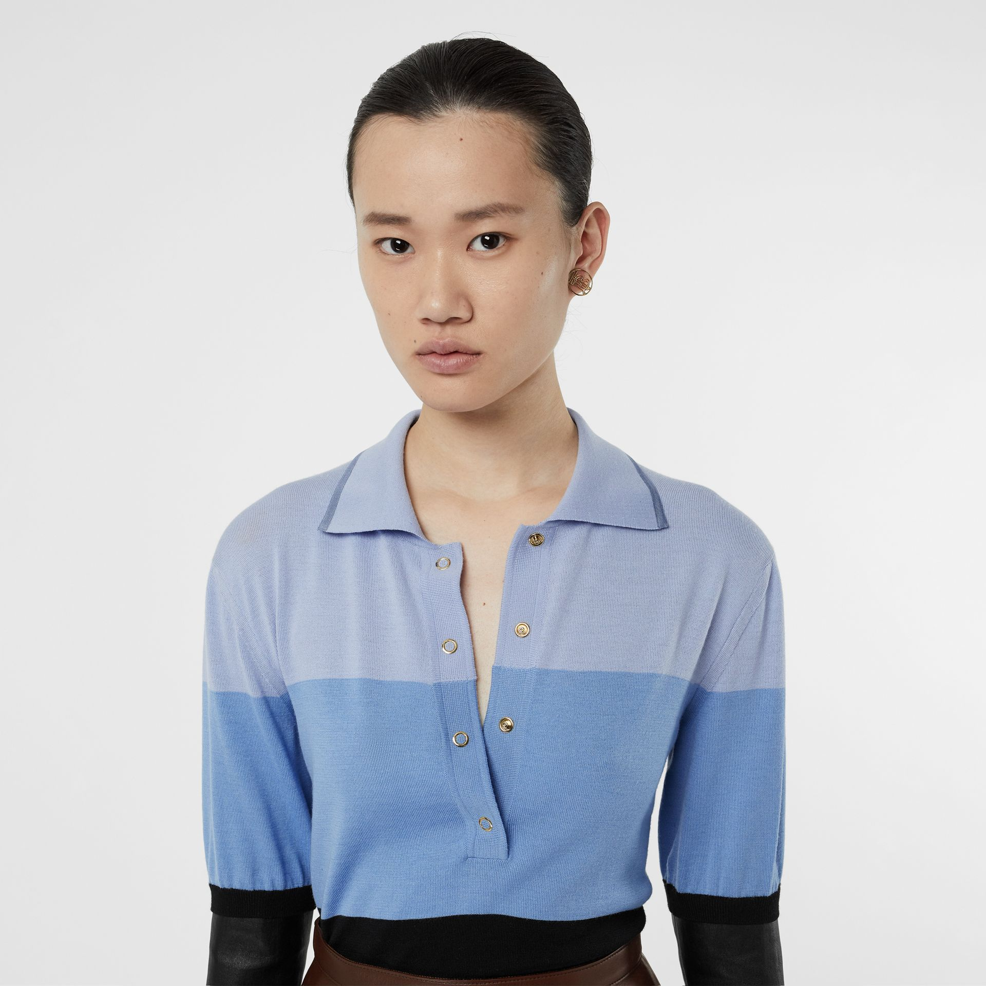 Long-sleeve Lambskin Detail Wool Polo Shirt in Blue - Women | Burberry Hong Kong S.A.R - gallery image 1