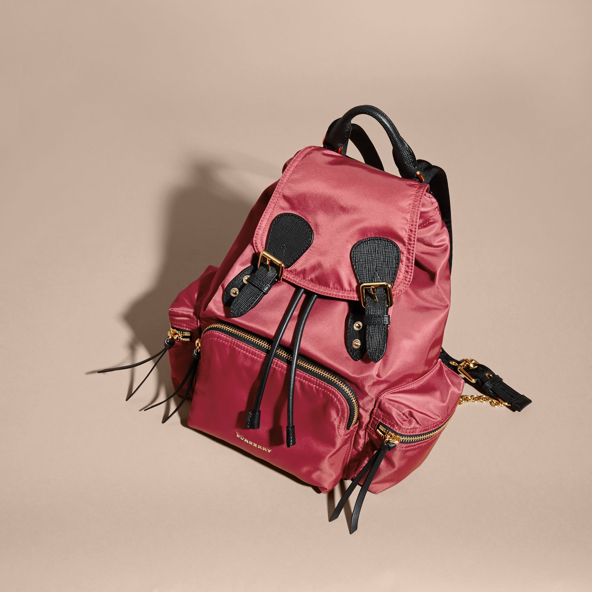 The Medium Rucksack in Technical Nylon and Leather Plum Pink - gallery image 8
