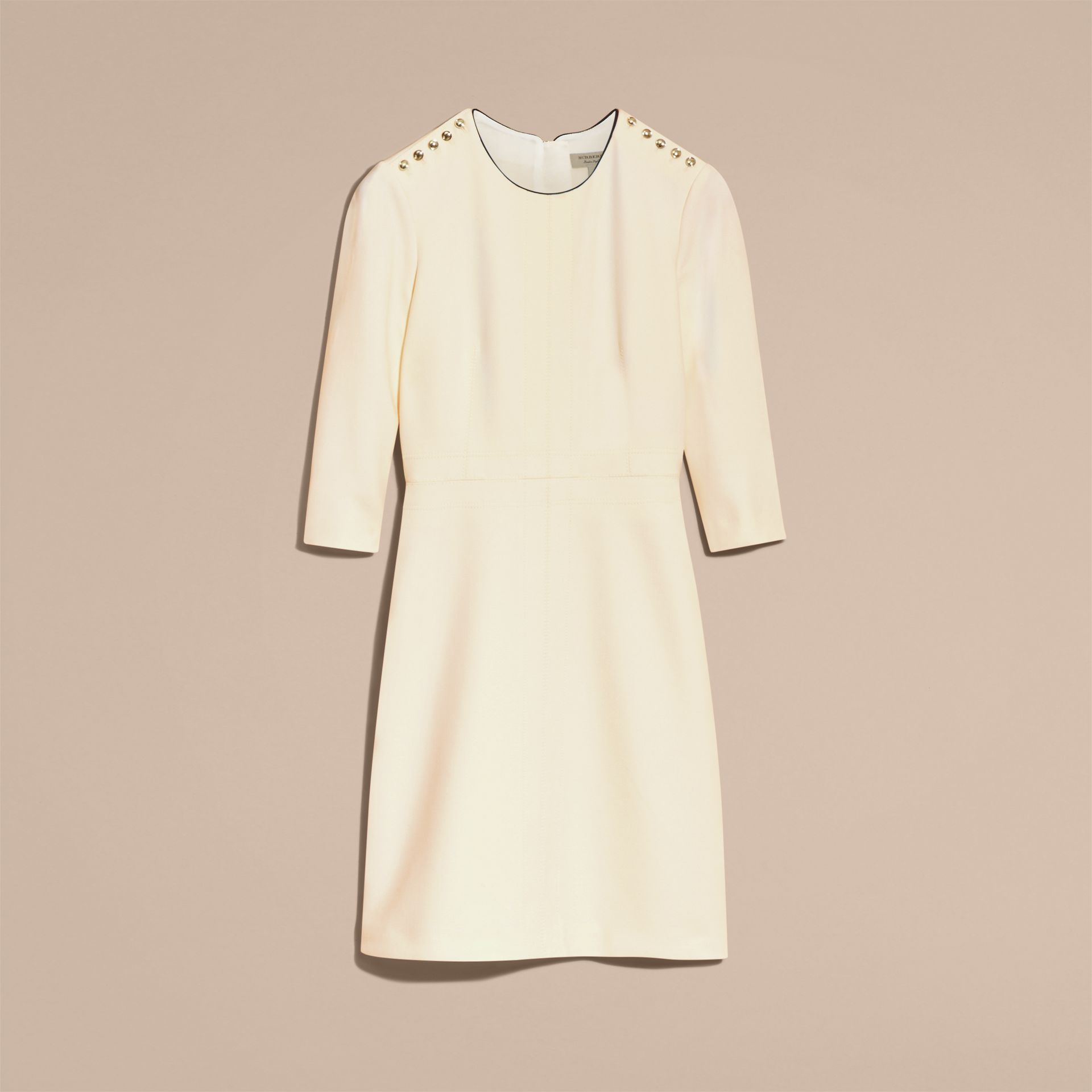 White Button Detail Wool Blend Crepe Dress - gallery image 4
