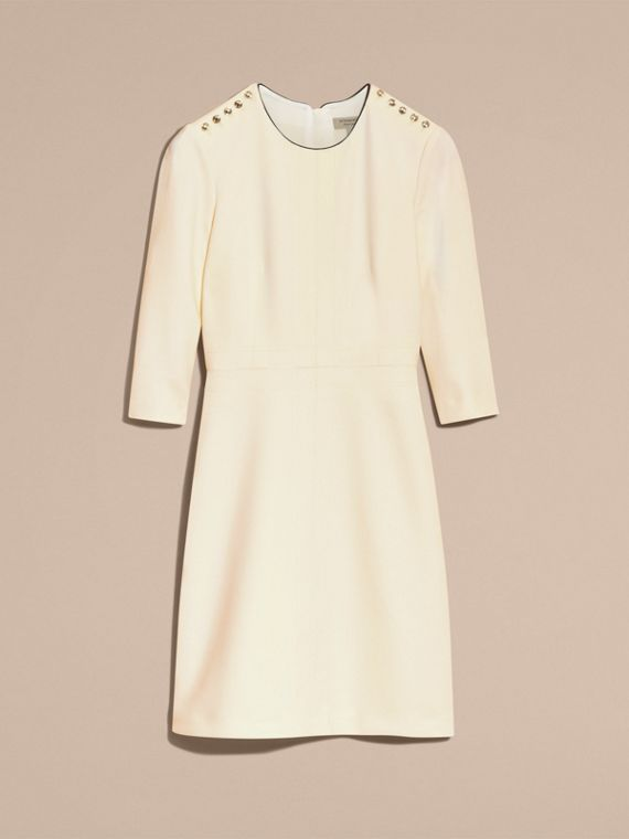 White Button Detail Wool Blend Crepe Dress - cell image 3