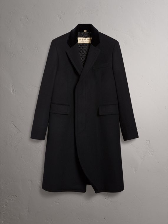 Velvet Collar Wool Cashmere Blend Riding Coat in Black - Men | Burberry - cell image 3