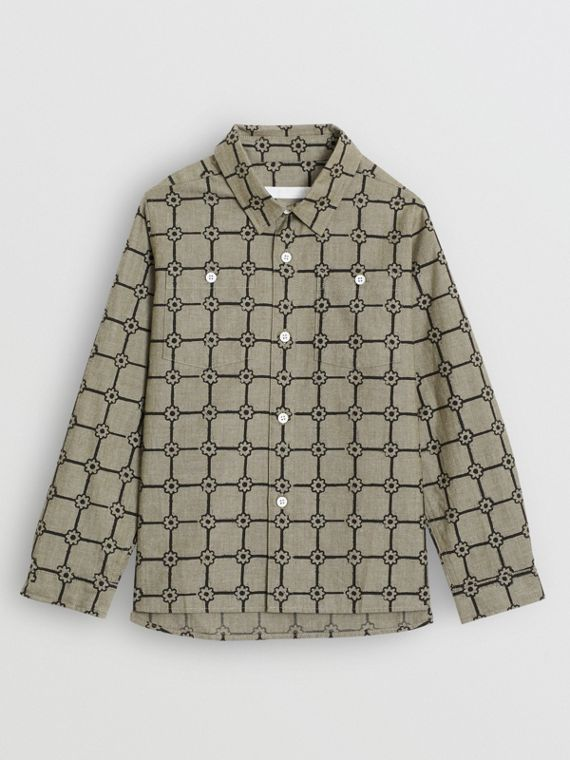 Flower Print Cotton Shirt in Khaki