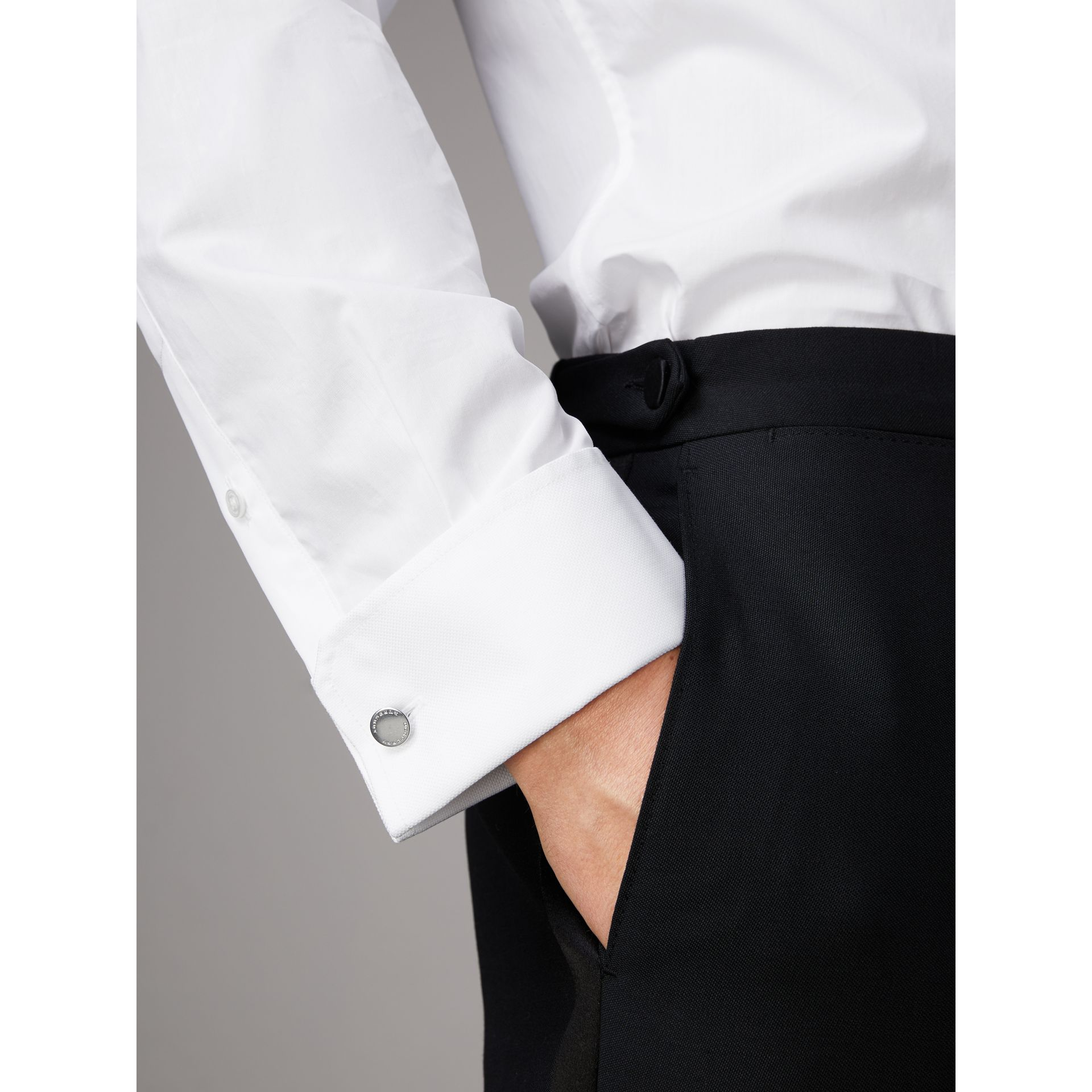 Modern Fit Pick-stitch Detail Bib Cotton Poplin Dress Shirt in White - Men | Burberry - gallery image 5