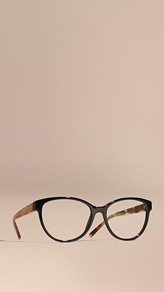 Monture ronde pour lunettes de vue avec touches check