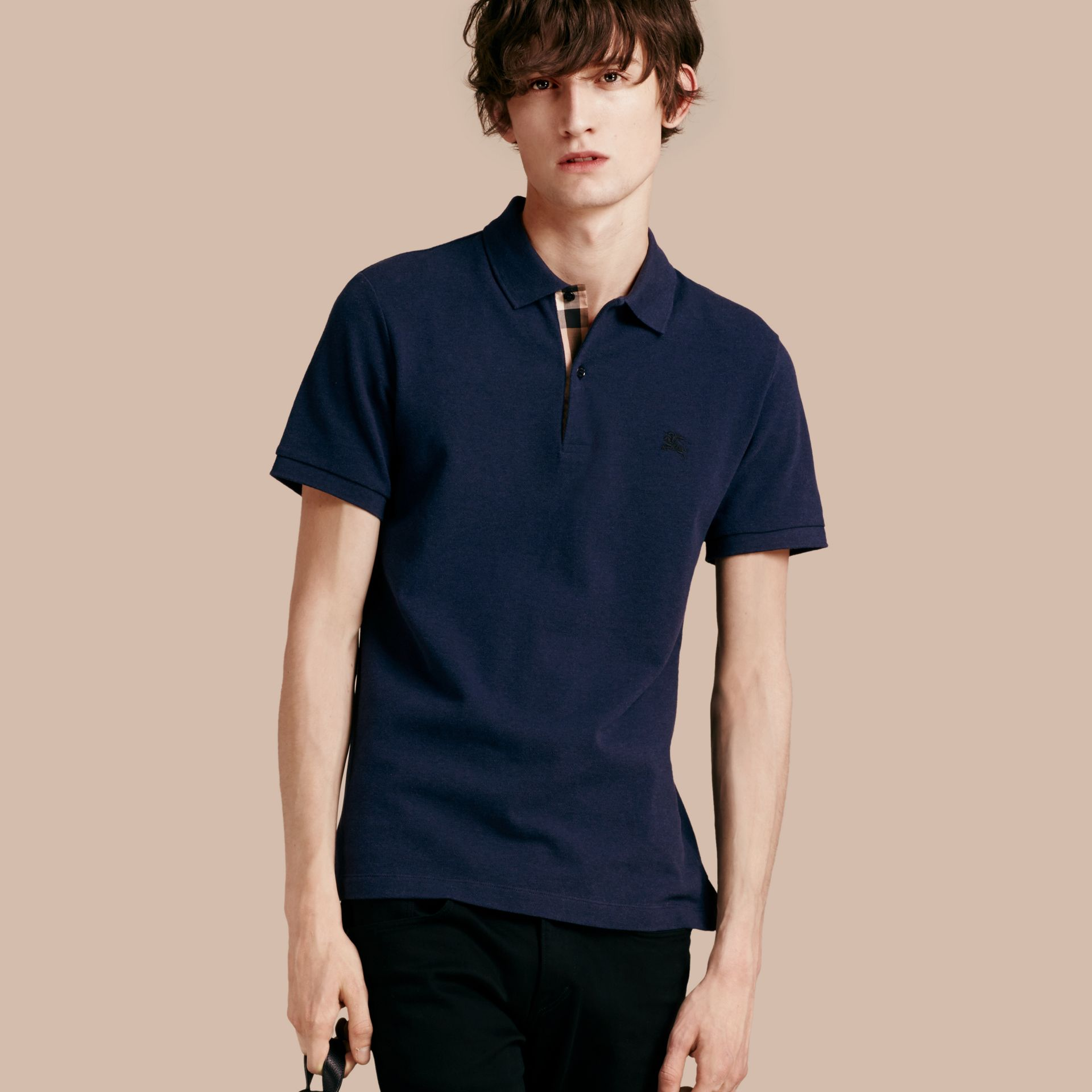 Check Placket Cotton Piqué Polo Shirt in Navy Melange - gallery image 1