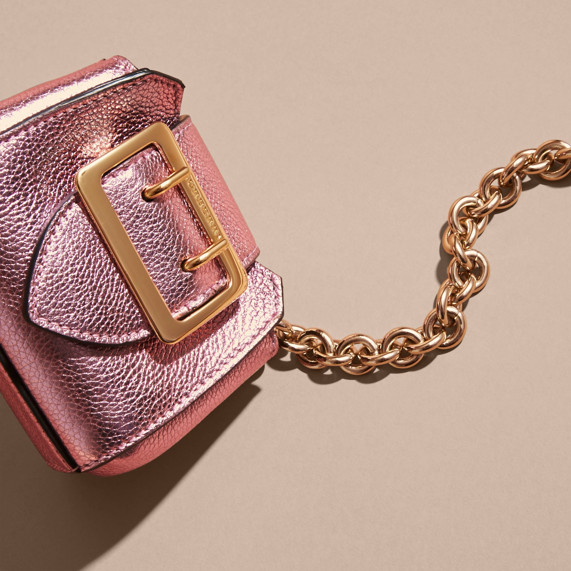 The Mini Buckle Tote Charm in Metallic Leather in Pale Orchid - gallery image 3